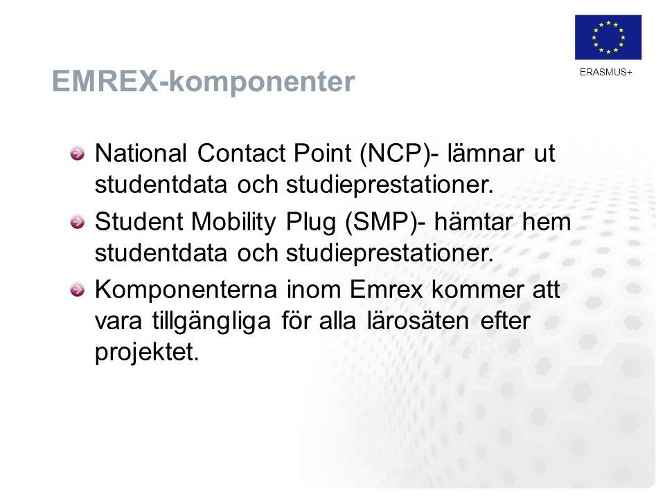 ERASMUS+ EMREX-komponenter National Contact Point (NCP)- lämnar ut studentdata och studieprestationer. Student Mobility Plug (SMP)- hämtar hem student