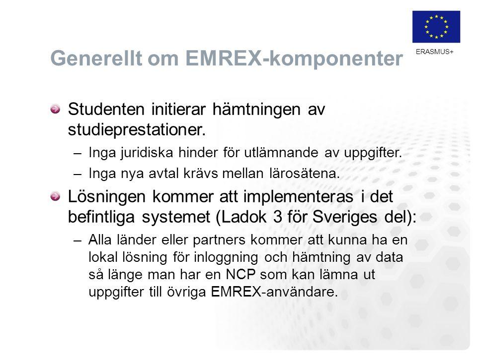 ERASMUS+ Generellt om EMREX-komponenter Studenten initierar hämtningen av studieprestationer. –Inga juridiska hinder för utlämnande av uppgifter. –Ing
