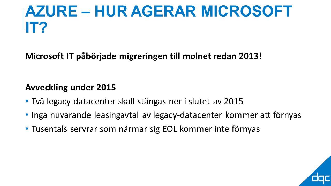 AZURE – HUR AGERAR MICROSOFT IT. Microsoft IT påbörjade migreringen till molnet redan 2013.
