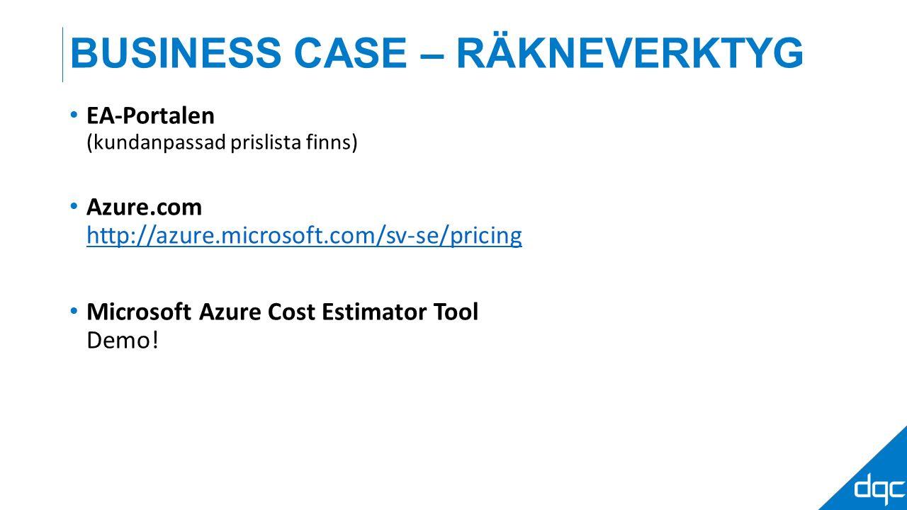 BUSINESS CASE – RÄKNEVERKTYG EA-Portalen (kundanpassad prislista finns) Azure.com http://azure.microsoft.com/sv-se/pricing http://azure.microsoft.com/sv-se/pricing Microsoft Azure Cost Estimator Tool Demo!