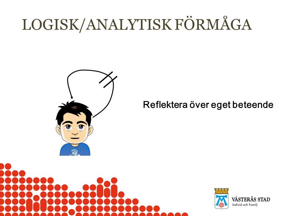 LOGISK/ANALYTISK FÖRMÅGA Reflektera över eget beteende