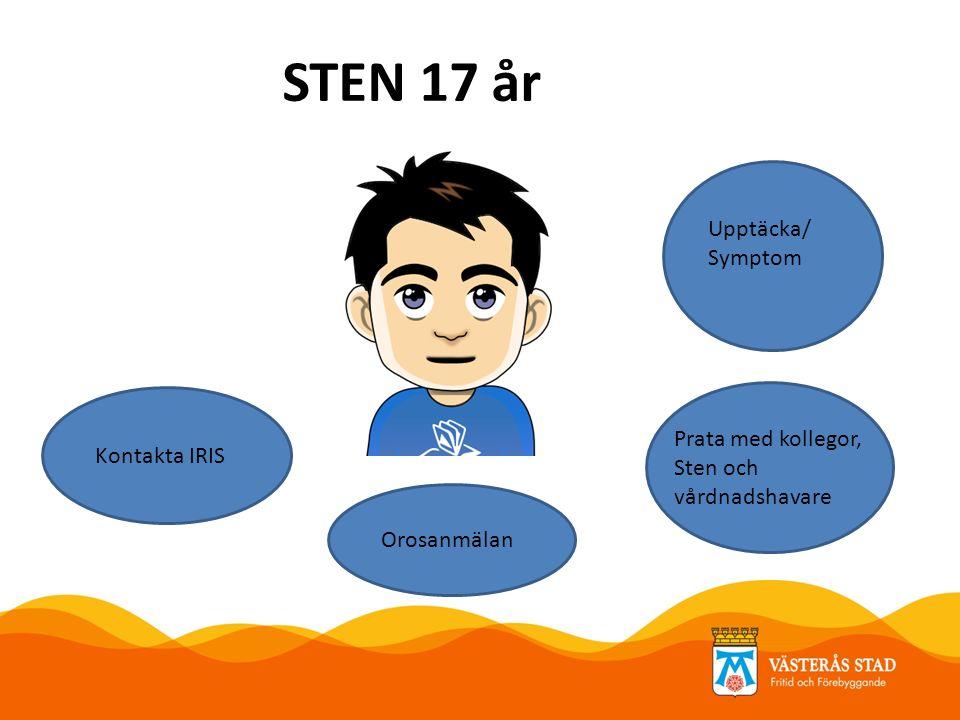 STEN 17 år Upptäcka/ Symptom Orosanmälan Kontakta IRIS Prata med kollegor, Sten och vårdnadshavare