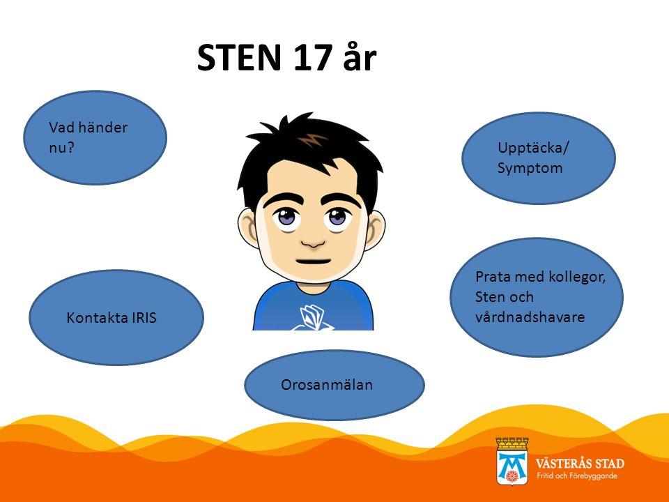 STEN 17 år Upptäcka/ Symptom Orosanmälan Kontakta IRIS Prata med kollegor, Sten och vårdnadshavare Vad händer nu?
