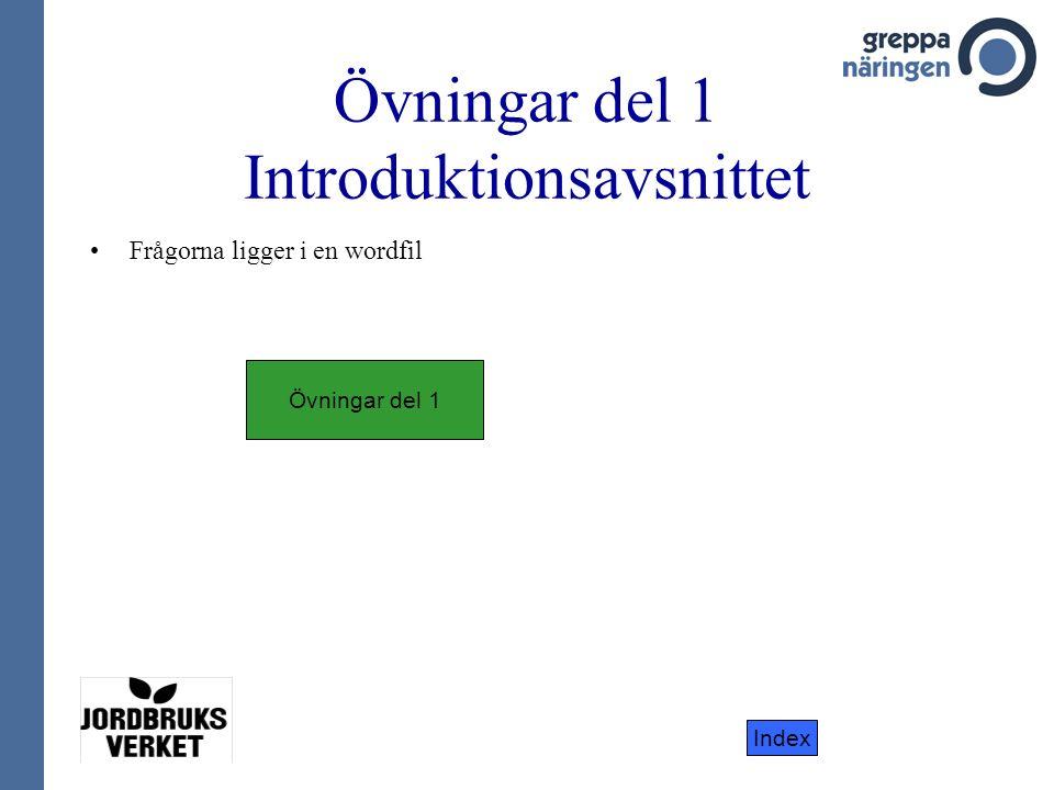 Index Övningar del 1 Introduktionsavsnittet Frågorna ligger i en wordfil Övningar del 1