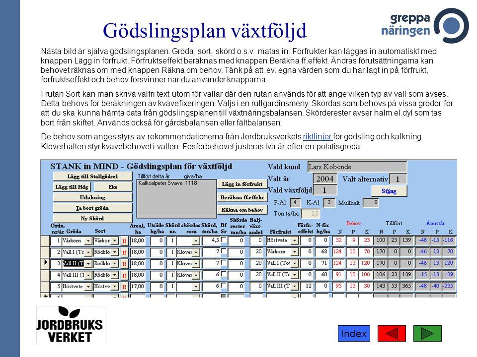 Index Gödslingsplan växtföljd Nästa bild är själva gödslingsplanen.
