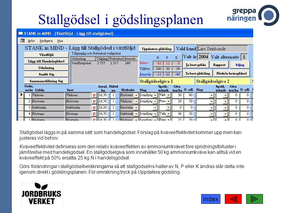Index Stallgödsel i gödslingsplanen Stallgödsel läggs in på samma sätt som handelsgödsel.