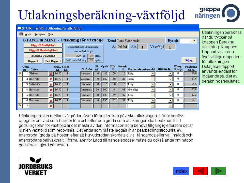 Index Utlakningsberäkning-växtföljd Utlakningen sker mellan två grödor.
