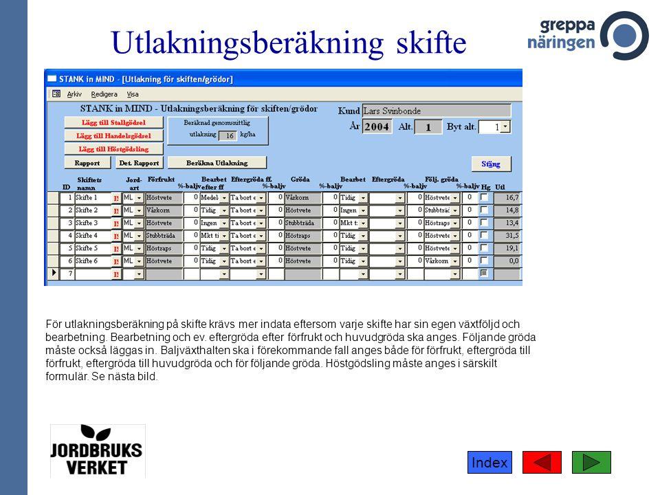 Index Utlakningsberäkning skifte För utlakningsberäkning på skifte krävs mer indata eftersom varje skifte har sin egen växtföljd och bearbetning.