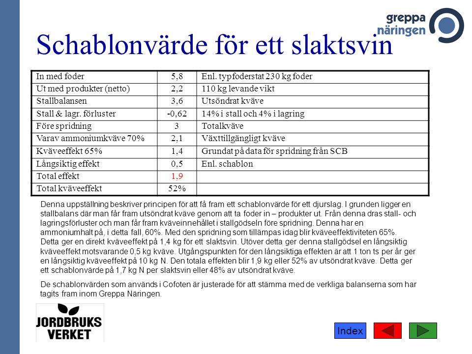 Index Schablonvärde för ett slaktsvin In med foder5,8Enl.
