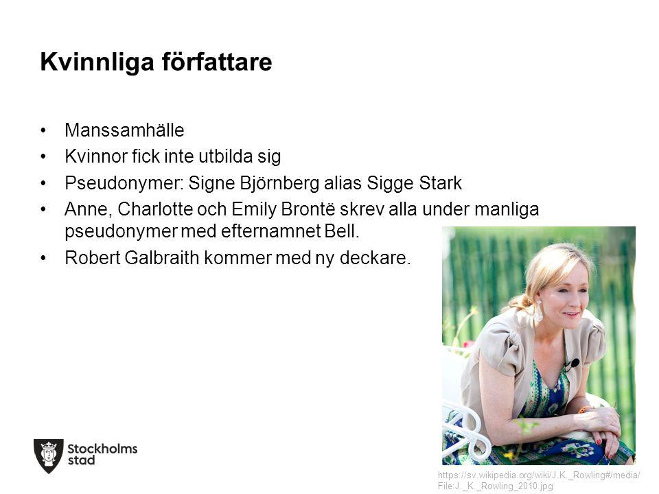 Kvinnliga författare Manssamhälle Kvinnor fick inte utbilda sig Pseudonymer: Signe Björnberg alias Sigge Stark Anne, Charlotte och Emily Brontë skrev