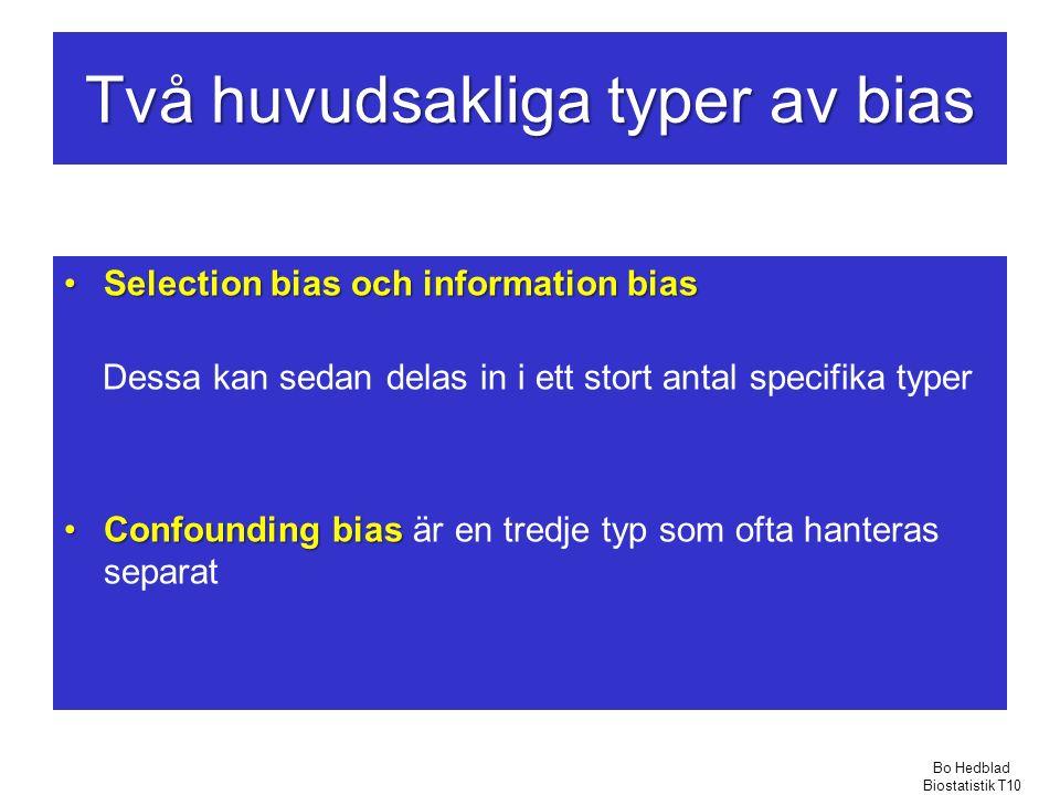 Två huvudsakliga typer av bias Selection bias och information biasSelection bias och information bias Dessa kan sedan delas in i ett stort antal specifika typer Confounding biasConfounding bias är en tredje typ som ofta hanteras separat Bo Hedblad Biostatistik T10