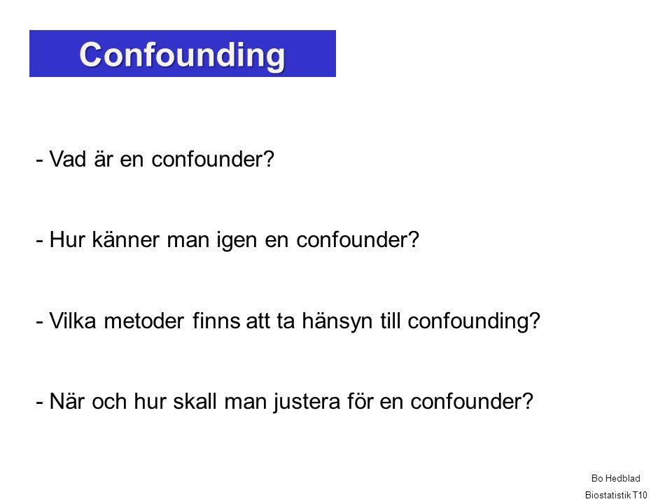 - Vad är en confounder.- Hur känner man igen en confounder.
