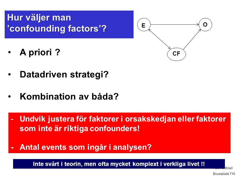 Hur väljer man 'confounding factors'.A priori . Datadriven strategi.
