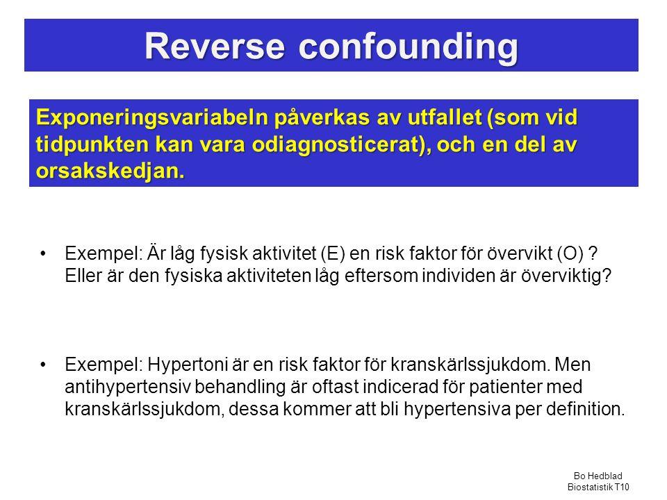 Reverse confounding Exempel: Är låg fysisk aktivitet (E) en risk faktor för övervikt (O) .