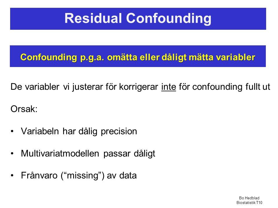 Residual Confounding De variabler vi justerar för korrigerar inte för confounding fullt ut Orsak: Variabeln har dålig precision Multivariatmodellen passar dåligt Frånvaro ( missing ) av data Confounding p.g.a.