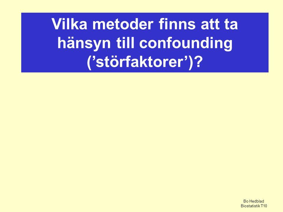 Vilka metoder finns att ta hänsyn till confounding ('störfaktorer')? Bo Hedblad Biostatistik T10