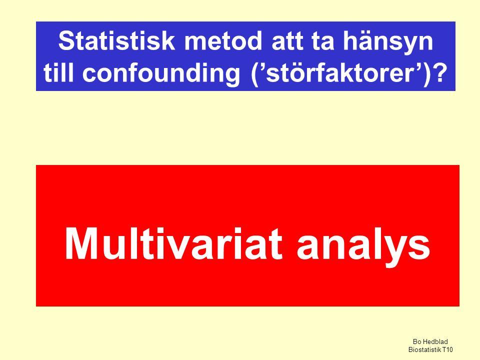 Multivariat analys Statistisk metod att ta hänsyn till confounding ('störfaktorer').