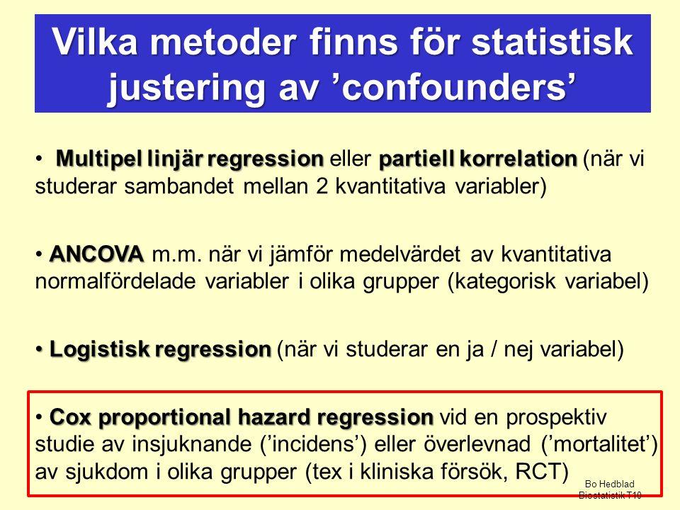 Multipel linjär regressionpartiell korrelation Multipel linjär regression eller partiell korrelation (när vi studerar sambandet mellan 2 kvantitativa variabler) ANCOVA ANCOVA m.m.