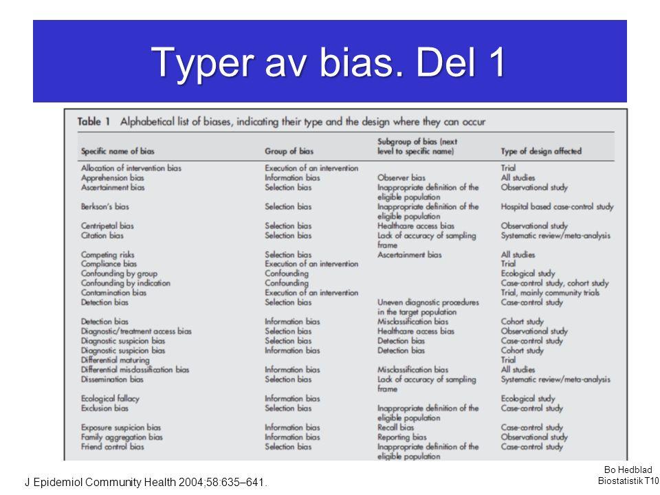 Typer av bias. Del 1 J Epidemiol Community Health 2004;58:635–641. Bo Hedblad Biostatistik T10