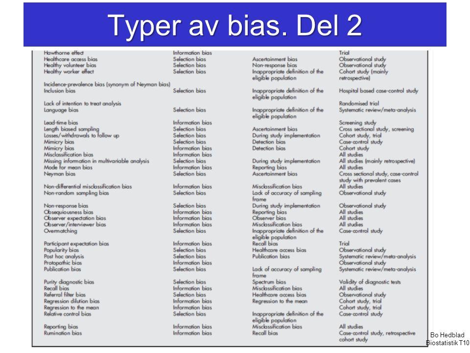 Typer av bias. Del 2 Bo Hedblad Biostatistik T10