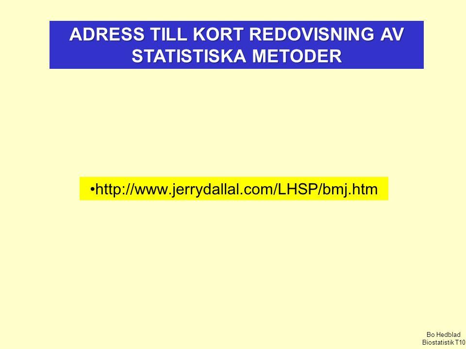 http://www.jerrydallal.com/LHSP/bmj.htm ADRESS TILL KORT REDOVISNING AV STATISTISKA METODER Bo Hedblad Biostatistik T10
