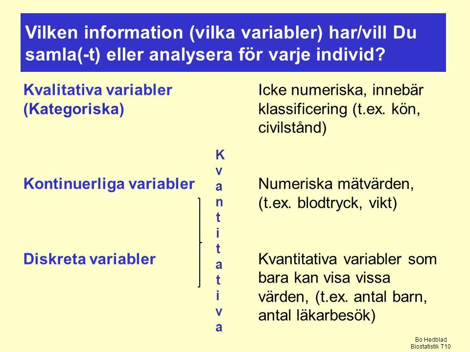 Kvalitativa variablerIcke numeriska, innebär (Kategoriska)klassificering (t.ex.