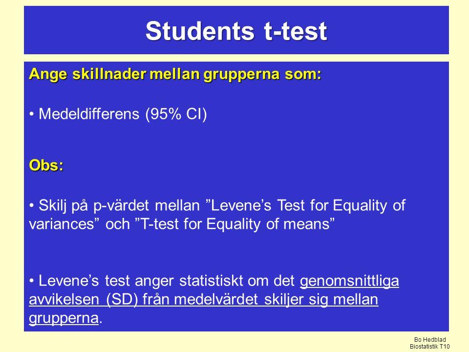Ange skillnader mellan grupperna som: Medeldifferens (95% CI)Obs: Skilj på p-värdet mellan Levene's Test for Equality of variances och T-test for Equality of means Levene's test anger statistiskt om det genomsnittliga avvikelsen (SD) från medelvärdet skiljer sig mellan grupperna.