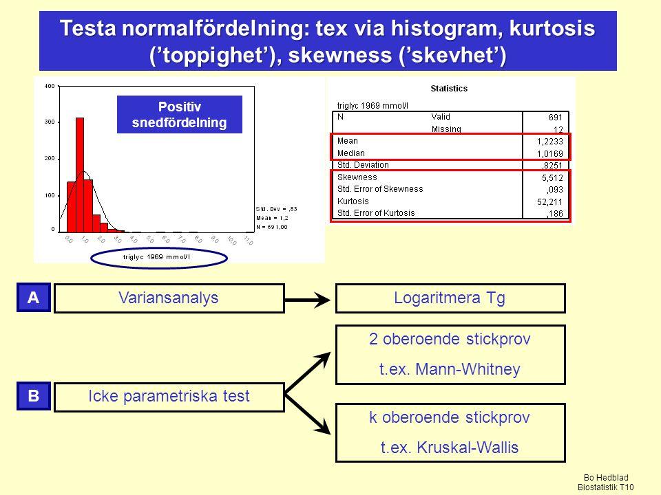 Testa normalfördelning: tex via histogram, kurtosis ('toppighet'), skewness ('skevhet') Variansanalys Icke parametriska test 2 oberoende stickprov t.ex.