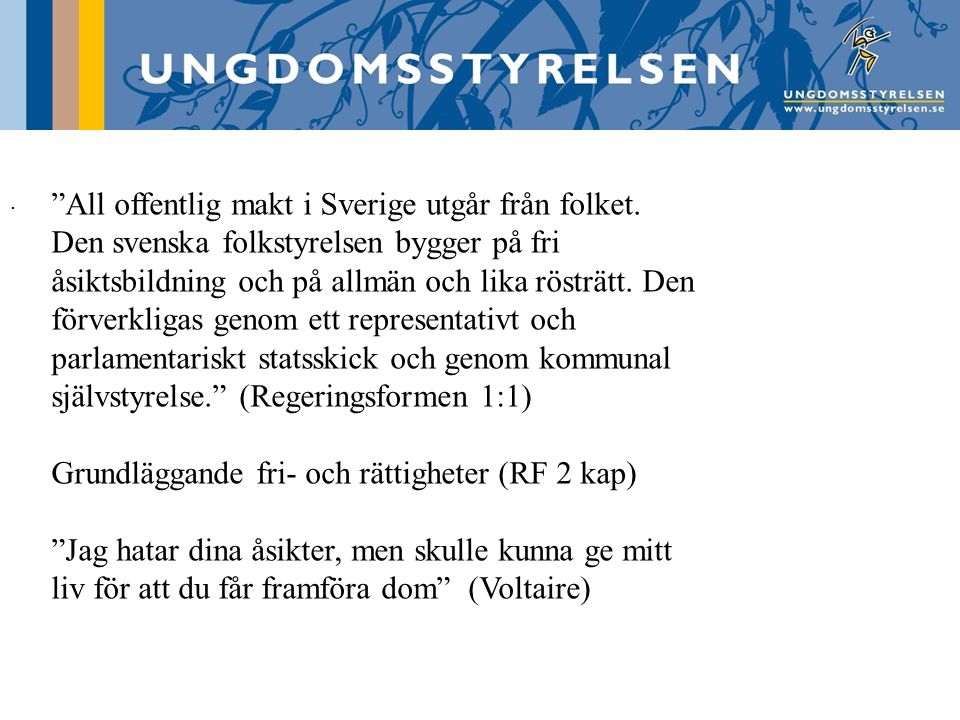 All offentlig makt i Sverige utgår från folket.
