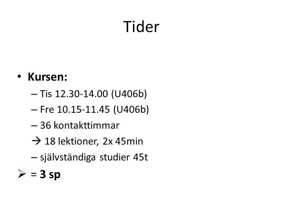Tider Kursen: – Tis 12.30-14.00 (U406b) – Fre 10.15-11.45 (U406b) – 36 kontakttimmar  18 lektioner, 2x 45min – självständiga studier 45t  = 3 sp