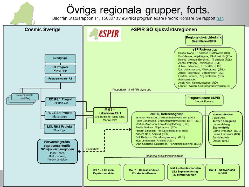 Övriga regionala grupper, forts. Bild från Statusrapport 11, 150807 av eSPIRs programledare Fredrik Romare. Se rapport här.här