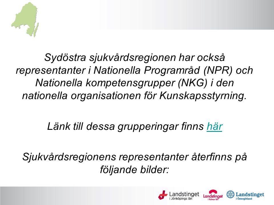 Sydöstra sjukvårdsregionen har också representanter i Nationella Programråd (NPR) och Nationella kompetensgrupper (NKG) i den nationella organisatione