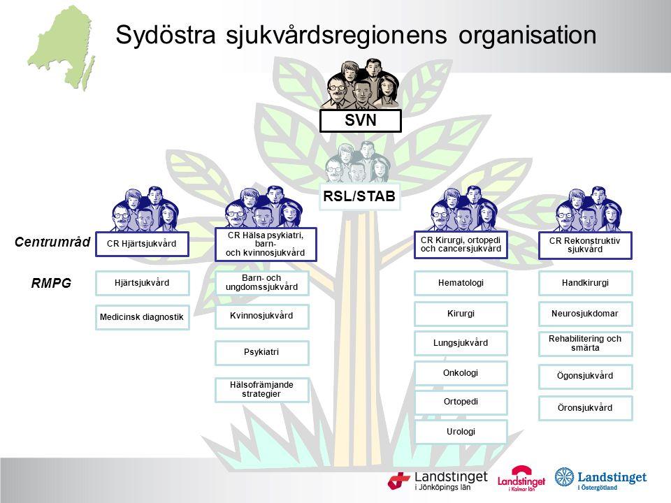 Sydöstra sjukvårdsregionens organisation Hjärtsjukvård Medicinsk diagnostik Barn- och ungdomssjukvård Kvinnosjukvård Psykiatri Hälsofrämjande strategi
