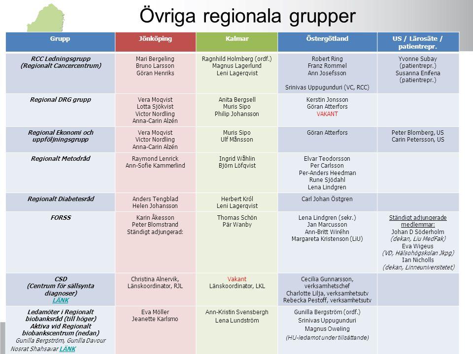 Övriga regionala grupper GruppJönköpingKalmarÖstergötlandUS / Lärosäte / patientrepr. RCC Ledningsgrupp (Regionalt Cancercentrum) Mari Bergeling Bruno