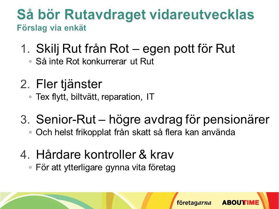 1. Skilj Rut från Rot – egen pott för Rut ◦ Så inte Rot konkurrerar ut Rut 2.