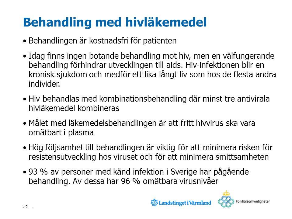 . Sid Behandling med hivläkemedel Behandlingen är kostnadsfri för patienten Idag finns ingen botande behandling mot hiv, men en välfungerande behandli