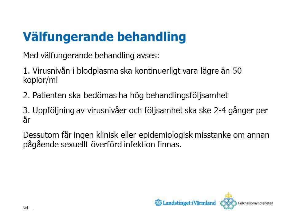 . Sid Välfungerande behandling Med välfungerande behandling avses: 1. Virusnivån i blodplasma ska kontinuerligt vara lägre än 50 kopior/ml 2. Patiente