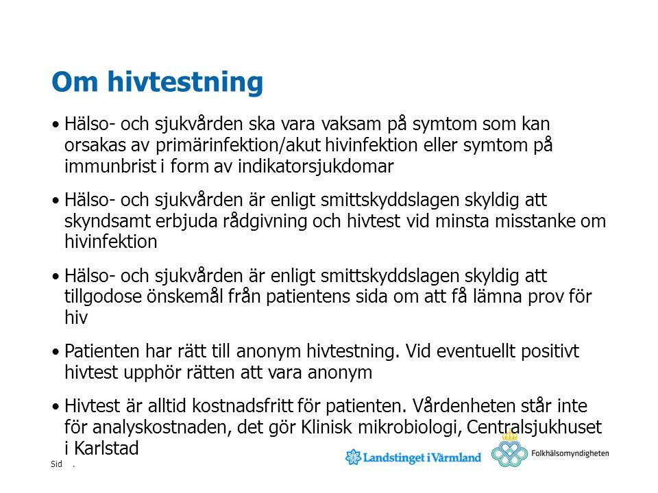 Sid Om hivtest En hivinfektion konstateras genom ett blodprov som analyseras vid mikrobiologiskt laboratorium Provet ger ofta utslag redan efter två veckor, men senast inom sex veckor, efter överföringstillfället Vid misstanke om hivinfektion ska man inte vänta med provtagning.