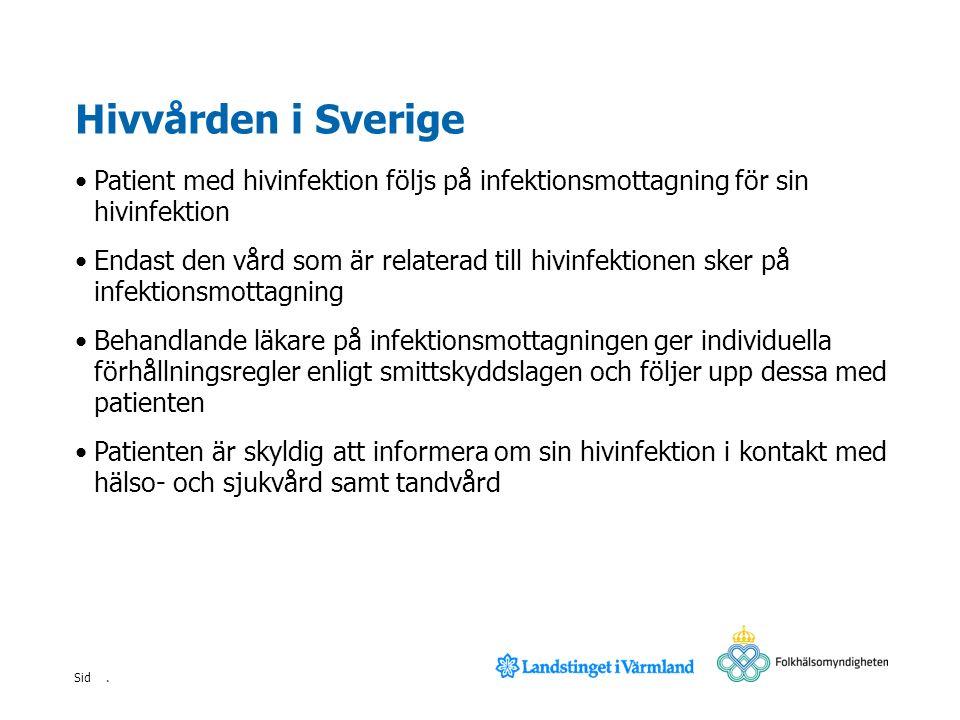 . Sid Hivvården i Sverige Patient med hivinfektion följs på infektionsmottagning för sin hivinfektion Endast den vård som är relaterad till hivinfekti