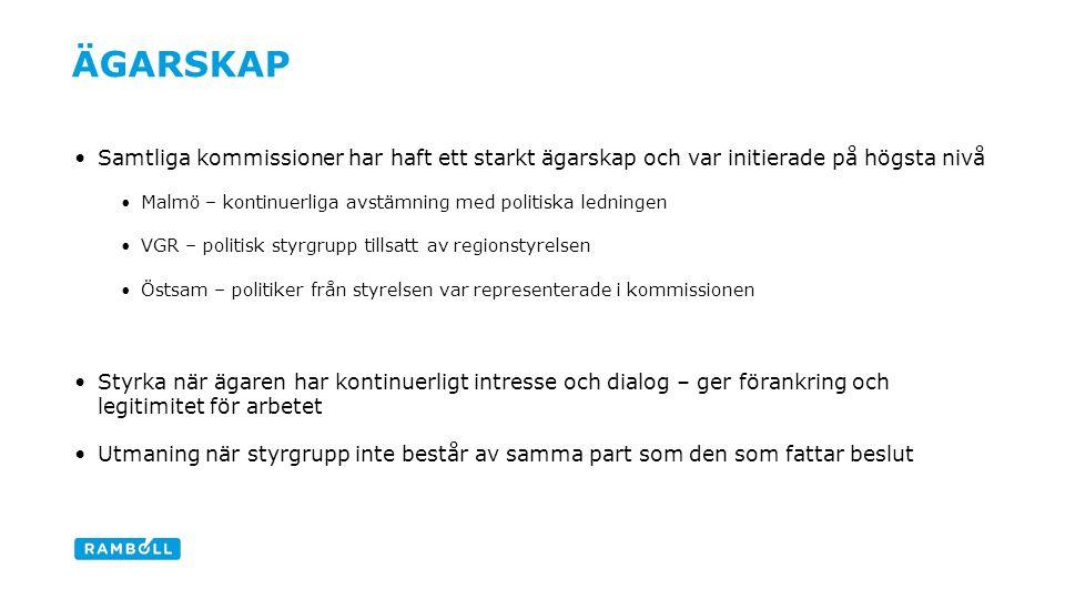 Samtliga kommissioner har haft ett starkt ägarskap och var initierade på högsta nivå Malmö – kontinuerliga avstämning med politiska ledningen VGR – politisk styrgrupp tillsatt av regionstyrelsen Östsam – politiker från styrelsen var representerade i kommissionen Styrka när ägaren har kontinuerligt intresse och dialog – ger förankring och legitimitet för arbetet Utmaning när styrgrupp inte består av samma part som den som fattar beslut ÄGARSKAP Content slide
