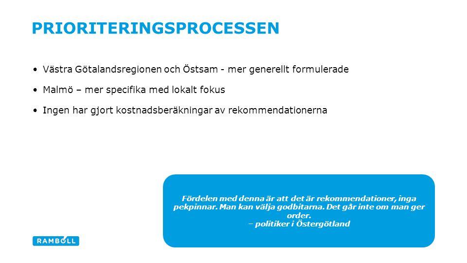 Västra Götalandsregionen och Östsam - mer generellt formulerade Malmö – mer specifika med lokalt fokus Ingen har gjort kostnadsberäkningar av rekommendationerna PRIORITERINGSPROCESSEN Content slide Fördelen med denna är att det är rekommendationer, inga pekpinnar.