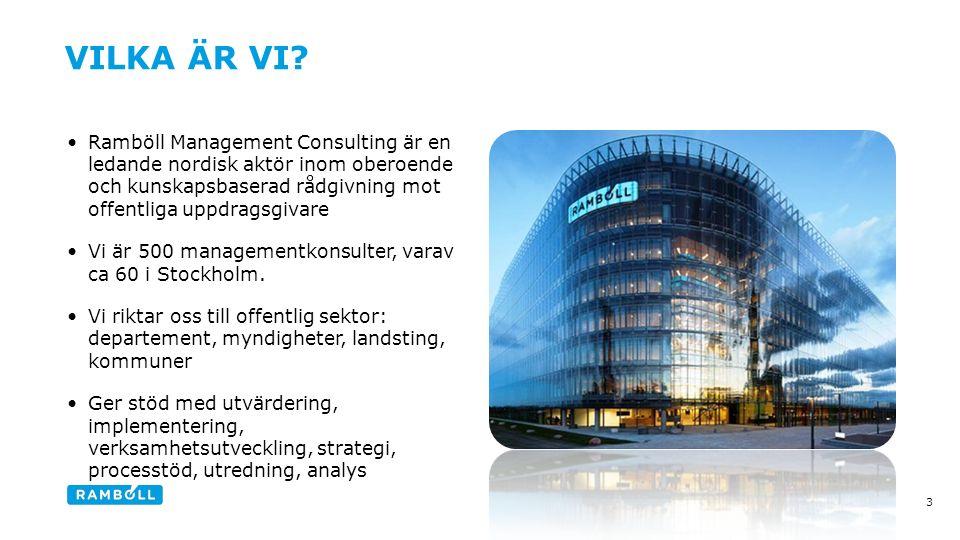 Ramböll Management Consulting är en ledande nordisk aktör inom oberoende och kunskapsbaserad rådgivning mot offentliga uppdragsgivare Vi är 500 managementkonsulter, varav ca 60 i Stockholm.