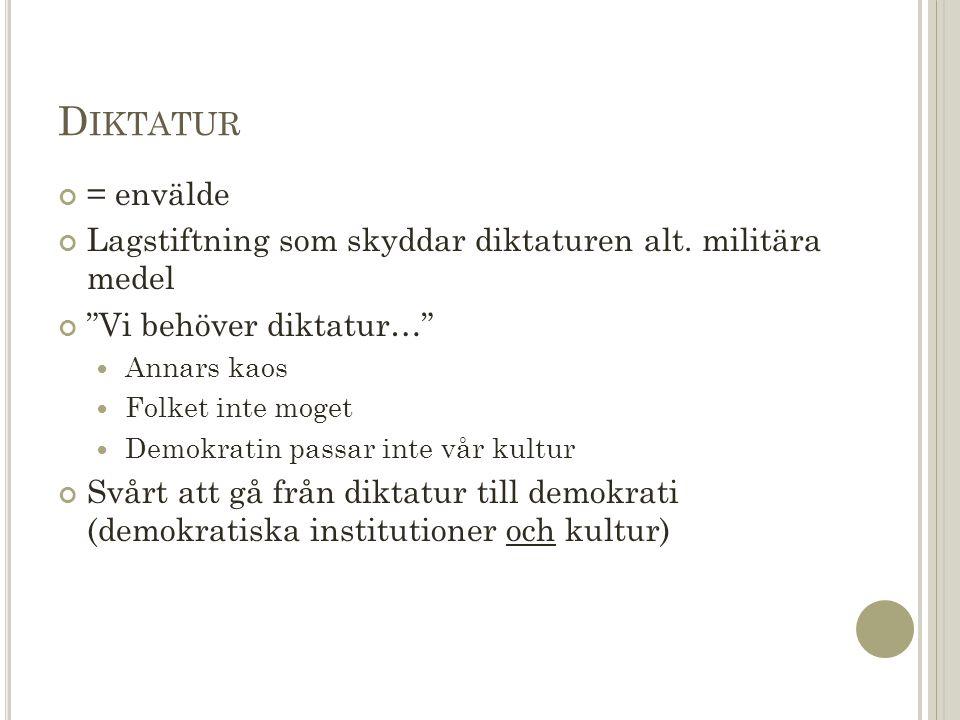 D IKTATUR = envälde Lagstiftning som skyddar diktaturen alt.