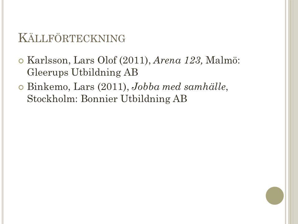 K ÄLLFÖRTECKNING Karlsson, Lars Olof (2011), Arena 123, Malmö: Gleerups Utbildning AB Binkemo, Lars (2011), Jobba med samhälle, Stockholm: Bonnier Utbildning AB