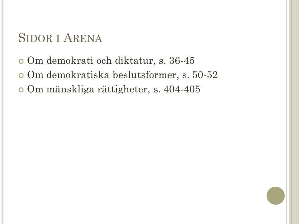 S IDOR I A RENA Om demokrati och diktatur, s. 36-45 Om demokratiska beslutsformer, s.
