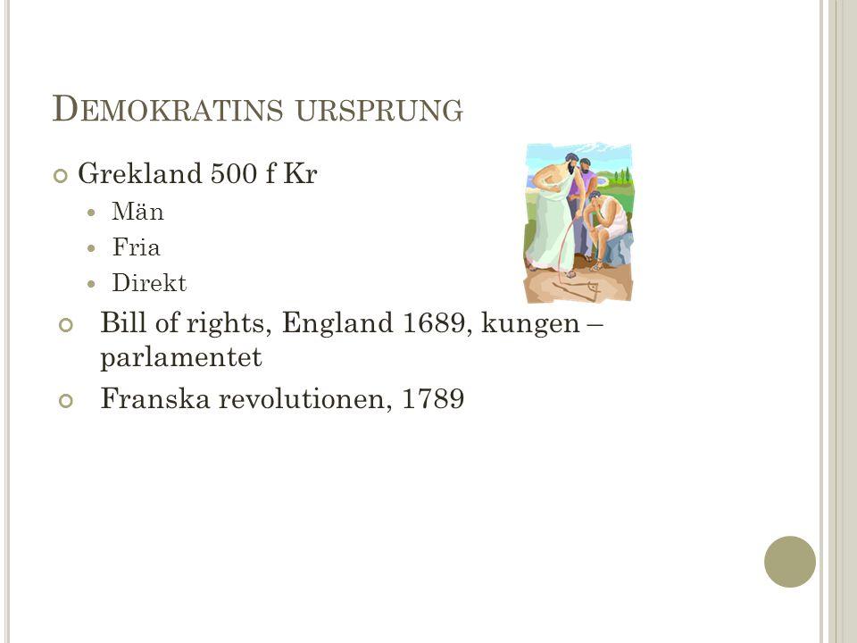 D EMOKRATINS URSPRUNG Grekland 500 f Kr Män Fria Direkt Bill of rights, England 1689, kungen – parlamentet Franska revolutionen, 1789