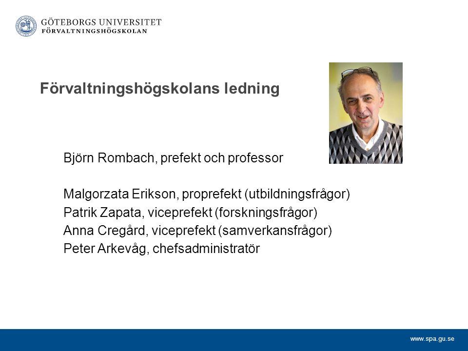 www.spa.gu.se Förvaltningshögskolans ledning Björn Rombach, prefekt och professor Malgorzata Erikson, proprefekt (utbildningsfrågor) Patrik Zapata, vi