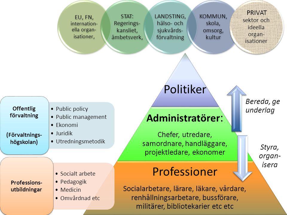 www.spa.gu.se Politiker Administratörer : Chefer, utredare, samordnare, handläggare, projektledare, ekonomer Professioner Socialarbetare, lärare, läka