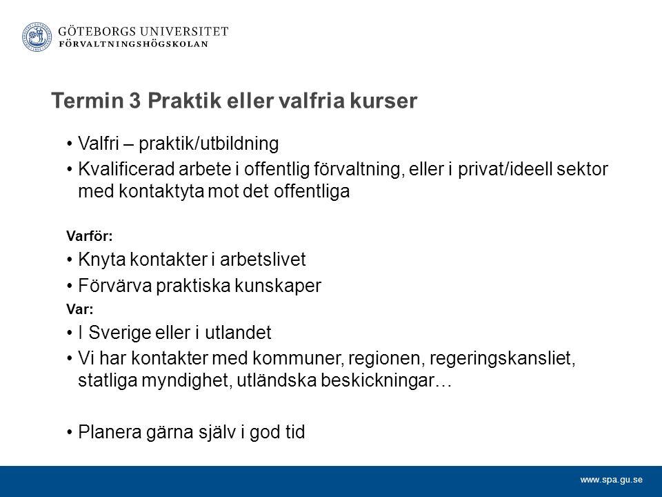www.spa.gu.se Termin 3 Praktik eller valfria kurser Valfri – praktik/utbildning Kvalificerad arbete i offentlig förvaltning, eller i privat/ideell sek