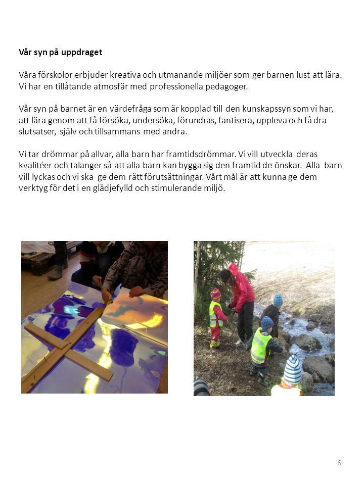 Vår syn på uppdraget Våra förskolor erbjuder kreativa och utmanande miljöer som ger barnen lust att lära.